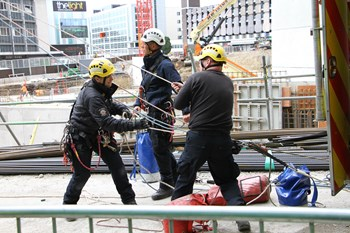 firemen training with rope