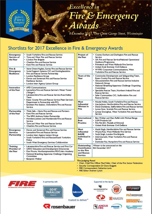 fire excellence awards 2017 list