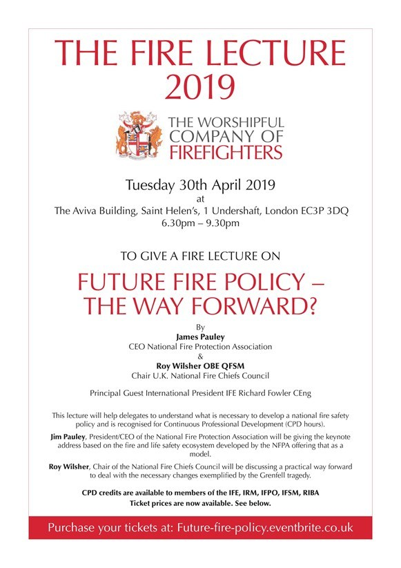 A flyer for The Fire Lecture 2019, taking place on Tuesday 30th April 2019 at The Aviva Building, London