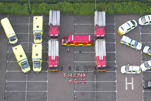 Clap for Carers: Gloucestershire Police, Fire and Ambulance tribute to NHS workers