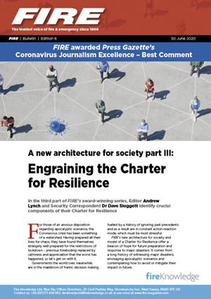 A new architecture for society part III: Engraining the Charter for Resilience